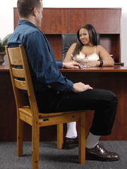 Fat office ebony slowly peels off her white blouse, - Picture 6