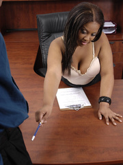 Fat office ebony slowly peels off her white blouse, - Picture 8