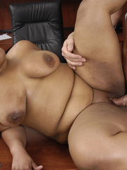 Fat office ebony slowly peels off her white blouse, - Picture 13