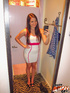 Beauty loses her white dress to get fucked hard in a hotel room.