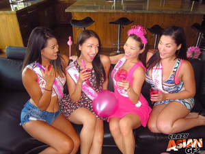 Four sexy Asian party girls get to play with a male stripper's hard schlong. - XXXonXXX - Pic 1