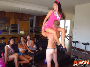 Four sexy Asian party girls get to play with a male stripper's hard schlong. - XXXonXXX - Pic 4