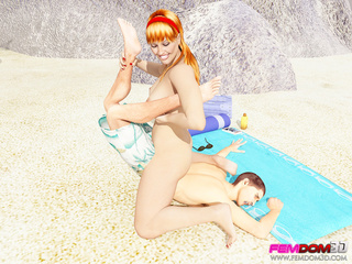 Redhead catches a perv at the beach and controls him. - Picture 3