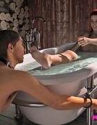 Voluptuous redhead has her man servant pleasure her in the tub.