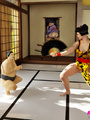 Curvy Asian babe gets two sumo wrestlers - Picture 1