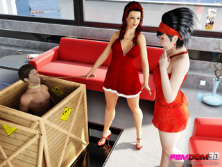Two women in red find an exotic man to be their sex - Picture 1