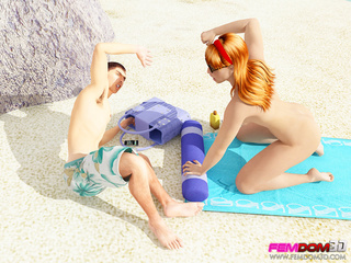 Hot redhead makes a perv eat her on the beach. - Picture 1