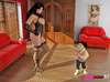 Big-assed Domme in a black corset and heels has a male midget doing her