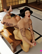 Two submissive male sumo wrestlers meet their match with a stern Asian