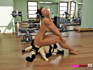 Fitness slut makes two dwarves to fill her pussy with - Picture 5