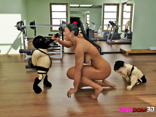 Fitness slut makes two dwarves to fill her pussy with - Picture 6