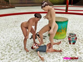 Busty women take advantage of a weak clown as a - Picture 3