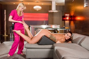 Skinny blonde angel in pink scrub suit grinds her perky ass and entire body on sexy brunette client - XXXonXXX - Pic 3