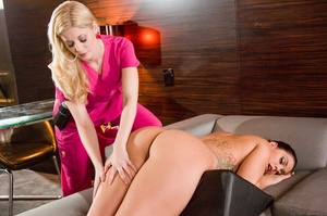Skinny blonde angel in pink scrub suit grinds her perky ass and entire body on sexy brunette client - XXXonXXX - Pic 6