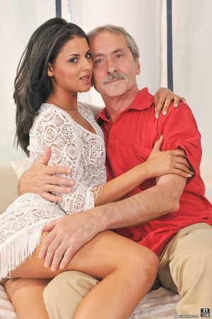 Sexy tanned latina in white dress got fucked on white sheets, by a dirty old man in red shirt - XXXonXXX - Pic 4