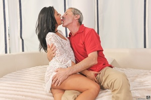 Sexy tanned latina in white dress got fucked on white sheets, by a dirty old man in red shirt - XXXonXXX - Pic 5