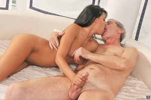 Sexy tanned latina in white dress got fucked on white sheets, by a dirty old man in red shirt - XXXonXXX - Pic 10