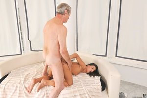Sexy tanned latina in white dress got fucked on white sheets, by a dirty old man in red shirt - XXXonXXX - Pic 14