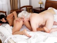 Latina sucks a blonde caucasian granny's tits and - XXXonXXX - Pic 11
