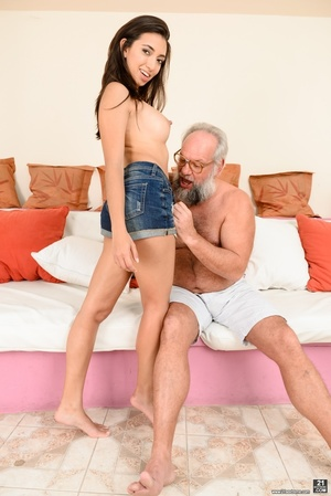 Old grandpa enjoyed sucking and banging a young brunette's pussy on white sheets - XXXonXXX - Pic 3