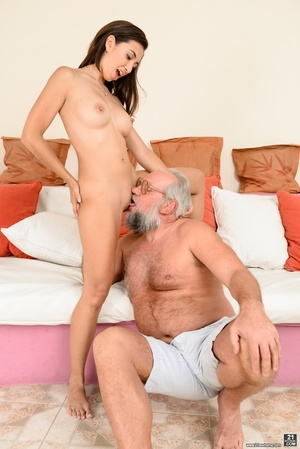 Old grandpa enjoyed sucking and banging a young brunette's pussy on white sheets - XXXonXXX - Pic 4