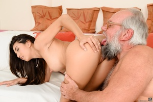 Old grandpa enjoyed sucking and banging a young brunette's pussy on white sheets - XXXonXXX - Pic 5