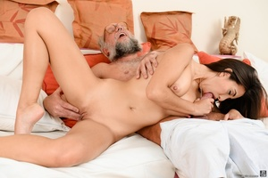 Old grandpa enjoyed sucking and banging a young brunette's pussy on white sheets - XXXonXXX - Pic 7