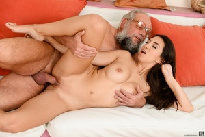Old grandpa enjoyed sucking and banging a young brunette's pussy on white sheets - XXXonXXX - Pic 12