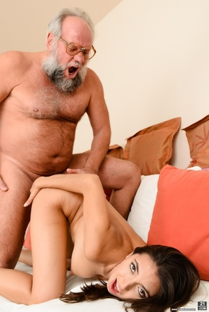 Old grandpa enjoyed sucking and banging a young brunette's pussy on white sheets - XXXonXXX - Pic 14