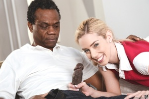 Blonde in her red uniform sucks and rides a black cock on a white couch - XXXonXXX - Pic 3