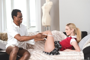 Blonde in her red uniform sucks and rides a black cock on a white couch - XXXonXXX - Pic 6