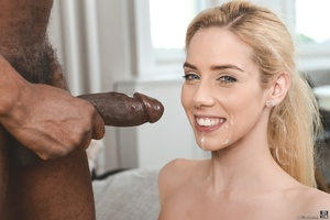 Blonde in her red uniform sucks and rides a black cock on a white couch - XXXonXXX - Pic 15