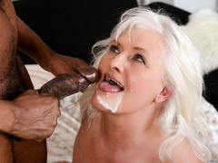 Black guy in white shirt fucks blonde granny on - XXXonXXX - Pic 15