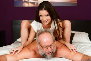 Old man received a blowjob, handjob and ass-fingered by a young brunette - XXXonXXX - Pic 3