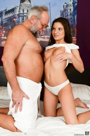 Old man received a blowjob, handjob and ass-fingered by a young brunette - XXXonXXX - Pic 4