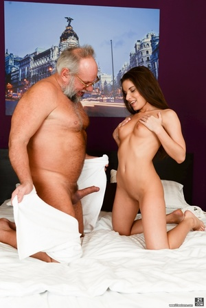 Old man received a blowjob, handjob and ass-fingered by a young brunette - XXXonXXX - Pic 5