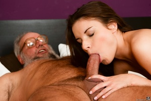 Old man received a blowjob, handjob and ass-fingered by a young brunette - XXXonXXX - Pic 6