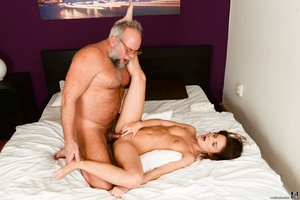 Old man received a blowjob, handjob and ass-fingered by a young brunette - XXXonXXX - Pic 12