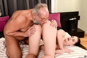 Old man sucks and fucks a young brunette's pussy on white sheets - XXXonXXX - Pic 6