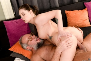 Old man sucks and fucks a young brunette's pussy on white sheets - XXXonXXX - Pic 8