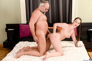 Old man sucks and fucks a young brunette's pussy on white sheets - XXXonXXX - Pic 10