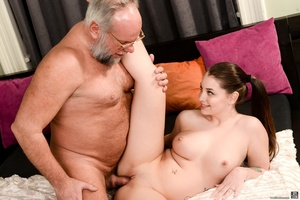 Old man sucks and fucks a young brunette's pussy on white sheets - XXXonXXX - Pic 13