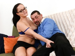 Brunette in black glasses rubs and rides an old - XXXonXXX - Pic 4