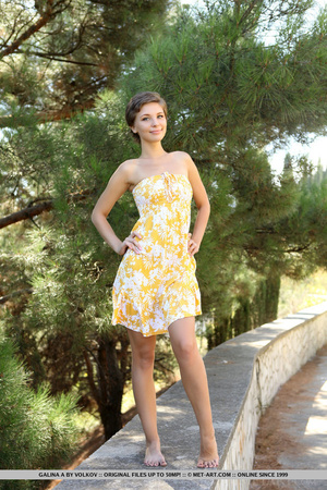 Short haired hottie in yellow dress likes to be naked on the bridge with the trees - XXXonXXX - Pic 1