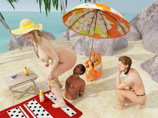 Curvy women on the beach use their men to pleasure - Picture 1