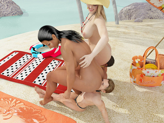 Curvy women on the beach use their men to pleasure - Picture 2