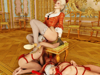 Victorian hottie makes her sex slaves fuck her with - Picture 5