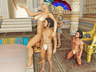 Busty Egyptian queen gets her pussy licked by her - Picture 1