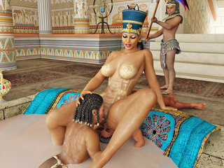 Busty Egyptian queen gets her pussy licked by her - Picture 3