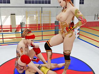 Two sexy wrestlers have fun play fighting with a - Picture 4